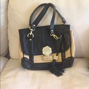 Vince Camuto Tan/Black Leather Bag with Tassel